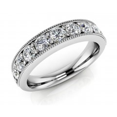 0.64  ct Ladies Round Cut Diamond Eternity Wedding Band Ring (Color G Clarity SI-1) in 14 Kt White Gold