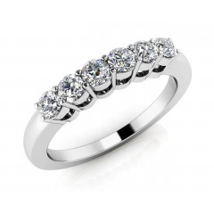 0.90 ct Ladies Round Cut Diamond Eternity Wedding Band Ring (Color G Clarity SI-1) in 14 Kt White Gold