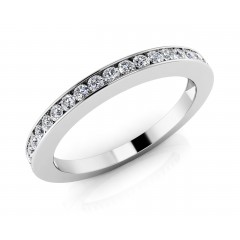 0.85 ct Ladies  Round Cut Diamond Eternity Wedding Band Ring (Color G Clarity SI-1) in 14 Kt White Gold