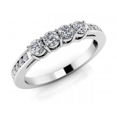 0.80 ct Ladies Round Cut Diamond Eternity Wedding Band Ring (Color G Clarity SI-1) in 14 Kt White Gold