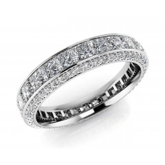 0.78 ct Ladies Round Cut Diamond Eternity Wedding Band Ring (Color G Clarity SI-1) in 14 Kt White Gold