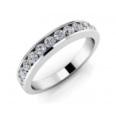 1.00 ct Ladies  Round Cut Diamond Eternity Wedding Band Ring (Color G Clarity SI-1) in 14 Kt White Gold