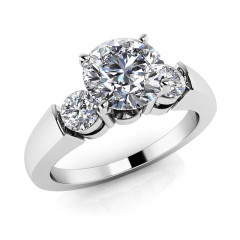 1.20 ct Ladies Round Cut  Triple Diamond  Engagement Ring (Color G Clarity SI-1) in 14 kt White Gold