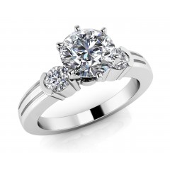 1.22 ct Ladies Round Cut Diamond Solitaire Engagement Ring (Color G Clarity SI-1) in 14 kt White Gold