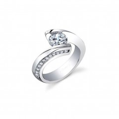 1.25 Ct Lady's Round Cut Diamond Engagement Ring G/Si1 14 Kt White Gold