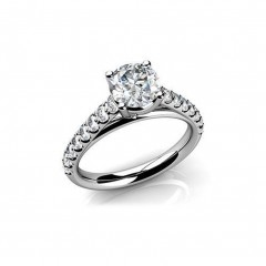 1.40 CT Round Cut Diamond Engagement Ring G/SI1 GAL Certified 14 KT White Gold