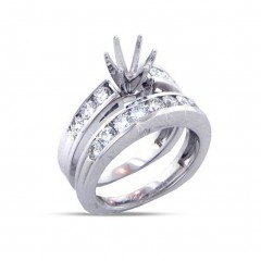 1.40ct Round Cut Diamonds Engagements Rings Bands Sets