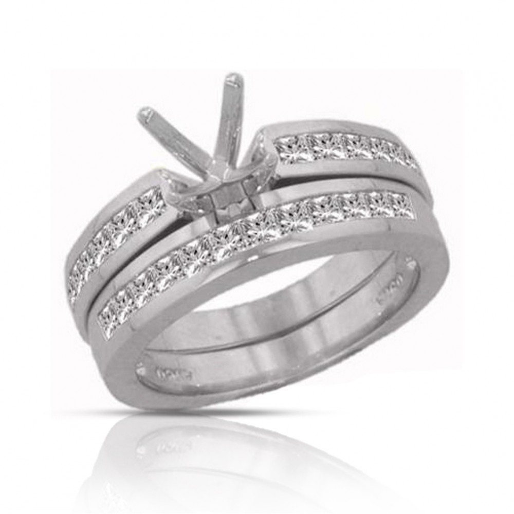 1.50ct Princess Cut Diamond Engagement Rings Bands Sets