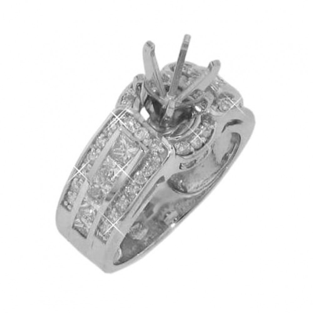 1.75ct Princess Round Cut Diamonds Engagements Rings