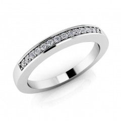 0.45 ct Ladies Round Cut Diamond Eternity Wedding Band Ring (Color G Clarity SI-1) in 14 Kt White Gold