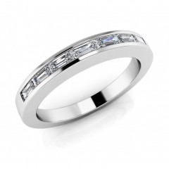 0.91 ct Ladies Baguette Cut Diamond Eternity Wedding Band Ring (Color G Clarity SI-1) in 14 Kt White Gold
