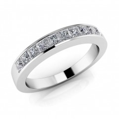0.81 ct Ladies Princess Cut Diamond Eternity Wedding Band Ring (Color G Clarity SI-1) in 14 Kt White Gold