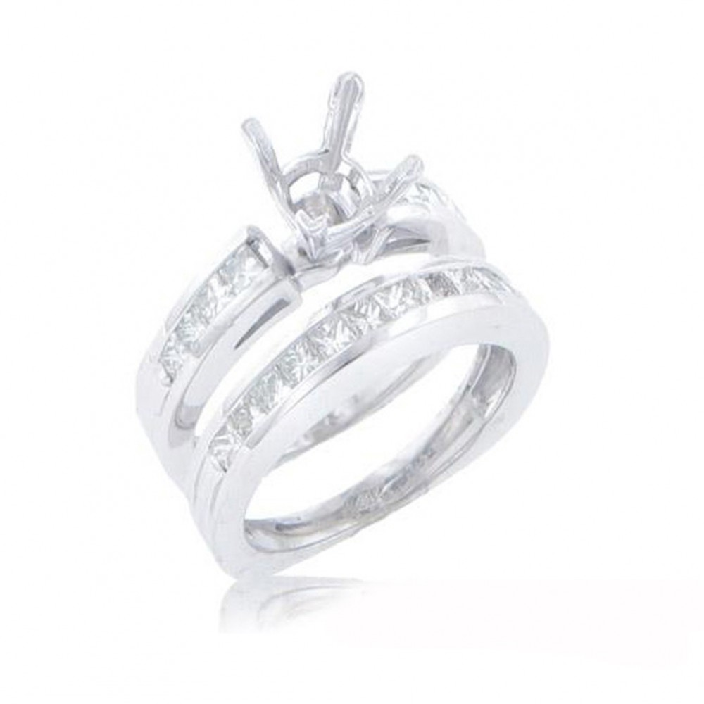 New 1.40CT Princess Cut Diamonds Engagement Ring Band Set G/SI1 14KT White Gold