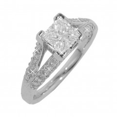 New 2.14CT Princess Cut Diamond Engagement Ring 14KT White Gold G/SI1 Certified