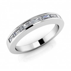 1.00 ct Ladies Baguette Cut Diamond Eternity Wedding Band Ring (Color G Clarity SI-1) in 14 Kt White Gold