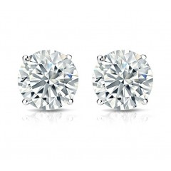 2.15 ct Ladies Round Cut Cubic Zirconia Stud Earrings in Silver With Push Back