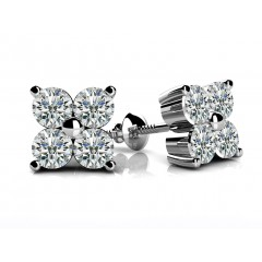 1.80 Ct Ladies Round Cut Diamond Stud Earrings in 14 karat White Gold