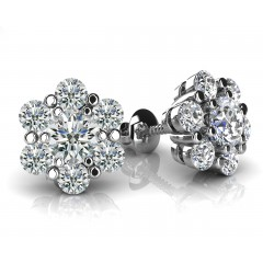 1.40 Ct Ladies Round Cut Diamond Stud Earrings in 14 karat White Gold