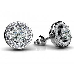 1.00 Ct Ladies Round Cut Diamond Stud Earrings in 14 karat White Gold