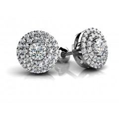 2.05 Ct Ladies Round Cut Diamonds Stud Earrings in 14 karat White Gold