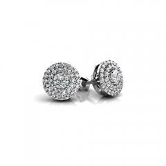 1.80 CT Lady's Round Cut Diamond Stud Earrings White Yellow Gold G/SI1 NewDesign